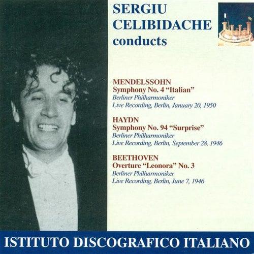 Mendelssohn, Felix: Symphony No. 4, 'Italian' / Haydn, F.J.: Symphony No. 94, 'The Surprise' (Berlin Philharmonic, Celibidache) (1946, 1950) by Sergiu Celibidache