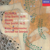 Beethoven (arr.Mahler): String Quartet No.11 / Brahms (orch.Schoenberg): Piano Quartet No.1 by Wiener Philharmoniker